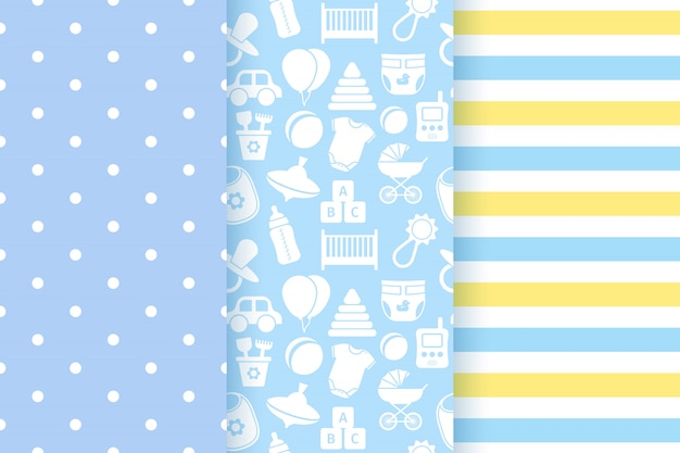 Baby shower seamless patterns