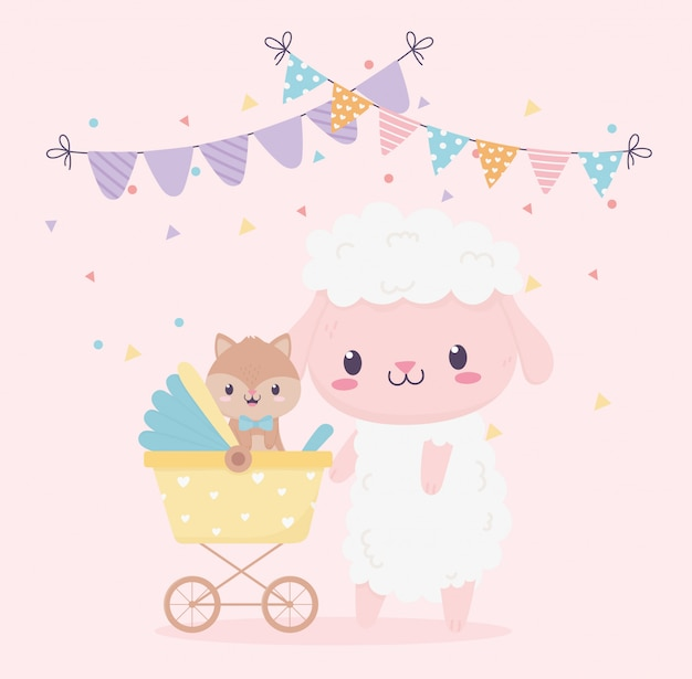 Baby shower sheep with squirrel in cartoon decoration
