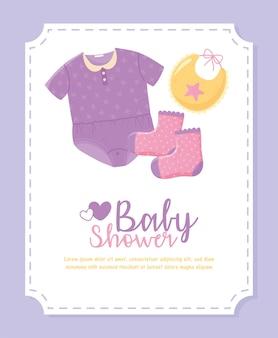 베이비 샤워, 작은 옷 바디 수트 턱받이 및 양말