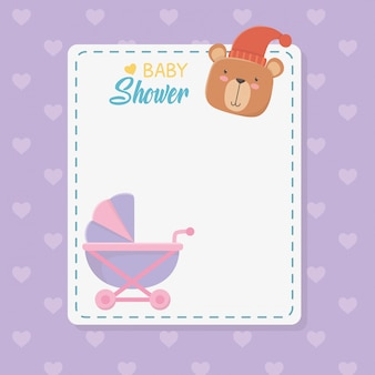 Baby shower square card with little bear teddy and baby cart
