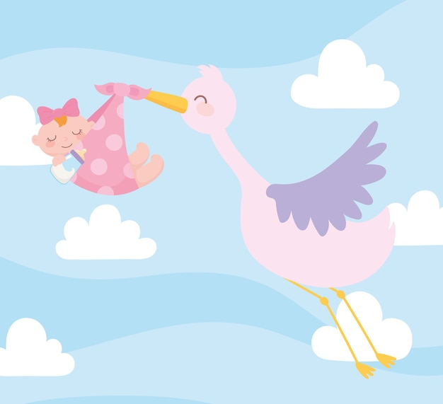 Baby shower, stork carrying baby girl in blanket, celebration welcome newborn