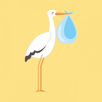 Baby shower stork cartoon