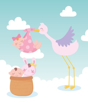 Baby shower, stork with baby girl and little boy and rabbit in basket, celebration welcome newborn