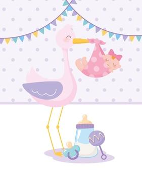 ベビーシャワー、赤ちゃん女の子のガラガラとおしゃぶりを持つコウノトリ、お祝い歓迎新生児