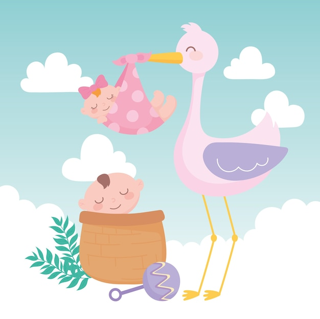 ベビーシャワー、バスケット漫画の女の子と男の子を持つコウノトリ、お祝いは新生児を歓迎