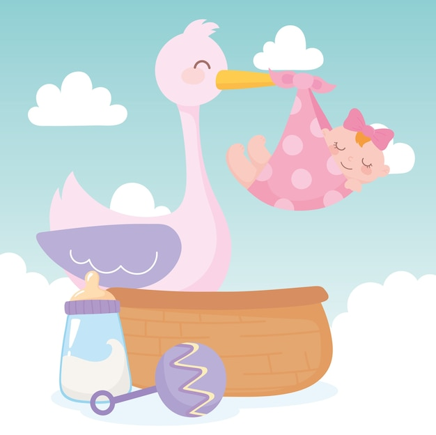 Baby shower, stork with little girl rattle and basket, celebration welcome newborn