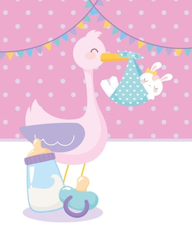 Детский душ, аист с кроликом в одеяле, соской и бутылкой молока, праздник приветствия новорожденного