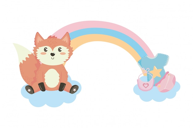 Baby shower symbol and fox