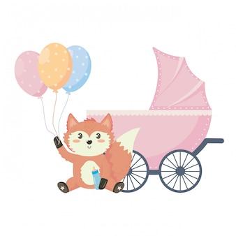 Baby shower symbol and fox