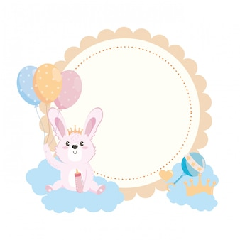 Baby shower symbol and rabbit