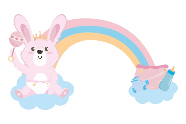 Baby shower symbol and rabbit