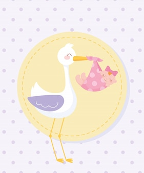Baby shower tag , stork with little girl in blanket