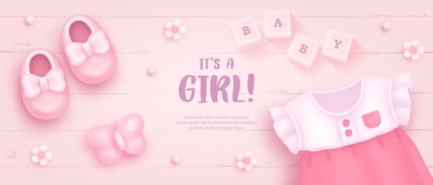 Baby shower template for girl