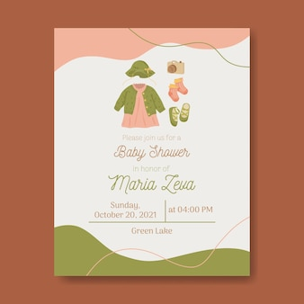 Baby shower template invitation for baby girl with earth tone warm colors