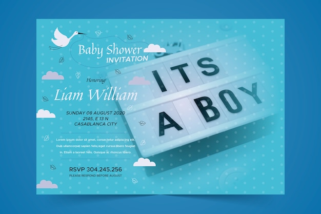 Baby shower template invitation for boy