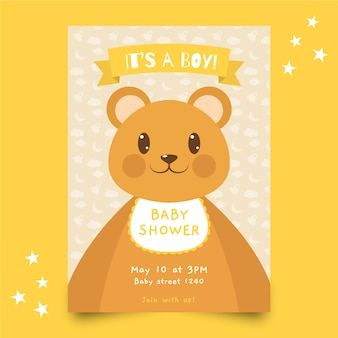 Baby shower template invitation with boy theme