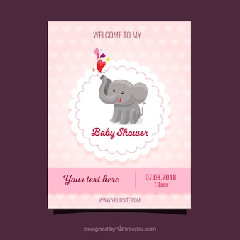 Baby shower template with cute elephant