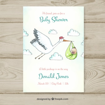 Baby shower template with stork carrying baby