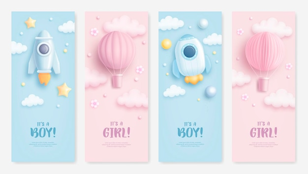 Baby shower vertical banners