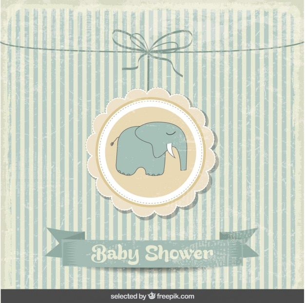 Baby shower carta d'epoca con l'elefante