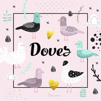 かわいい鳩とベビーシャワー。装飾、招待状、カバーのための創造的な手描きの幼稚な鳥の鳩の背景。