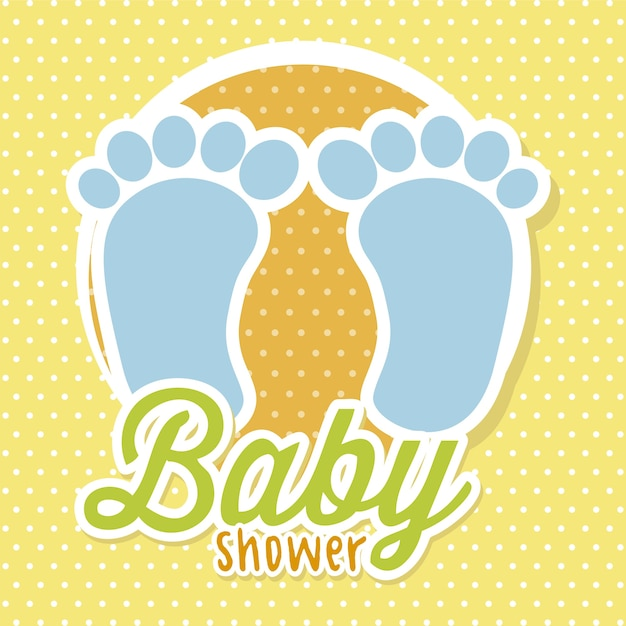 Baby shower with foots over yellow background vector