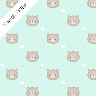 Baby shower with little bear heads and flowers pattern