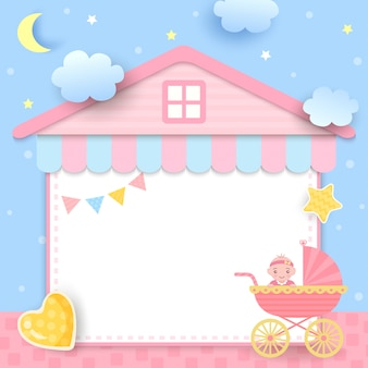 Baby shower  with stroller and house frame