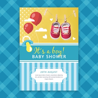 Шаблон приглашения baby shower с рисунком