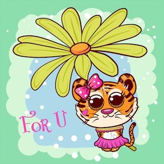 Baby shower поздравительная открытка с милой девушкой мультяшный тигр - вектор