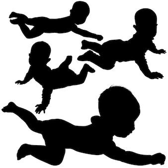 Baby silhouettes Premium Vector