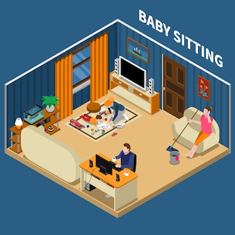 Composizione isometrica baby sitter