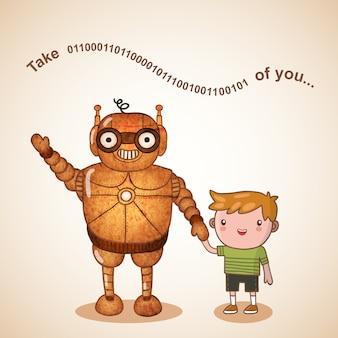 Няня робот с ребенком