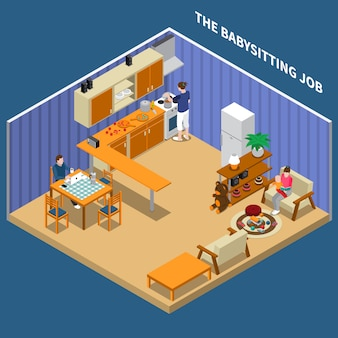 Baby sitting job isometric composition