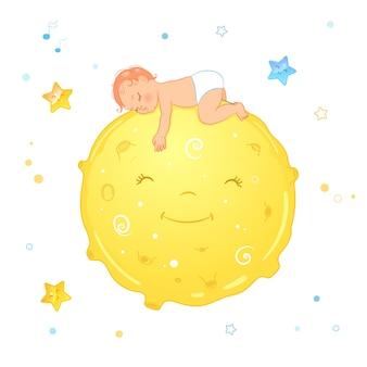 Baby sleeping on the moon. realistic cartoon baby in diaper.