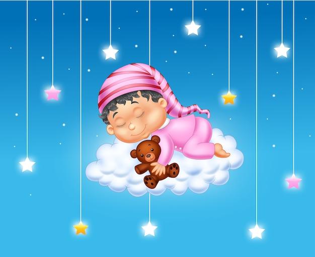 구름에서 자 고하는 아기