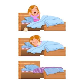 Baby sleeping, woke up in bed yawning after sleep - cartoon character