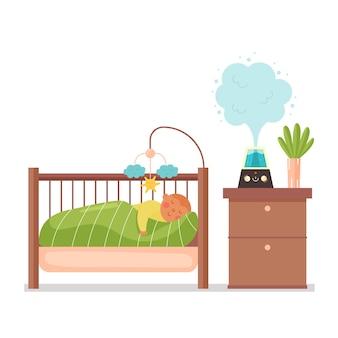 Baby sleeps humidifier nursery