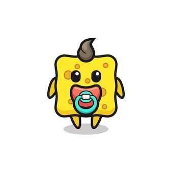 Baby sponge cartoon character with pacifier , cute style design for t shirt, sticker, logo element