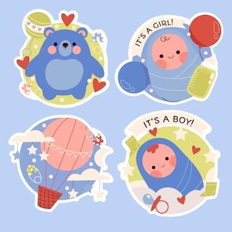 밝은 색상의 아기 스티커 컬렉션