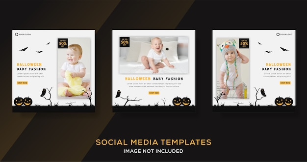 Baby store banner template post for halloween fashion sale.