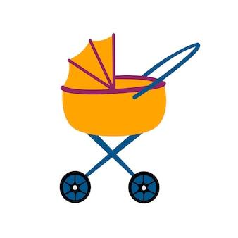 Детская коляска для ребенка, значок на белом фоне. векторная иллюстрация цвета в плоском стиле.