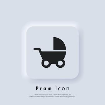 Значок детской коляски. значок детской коляски. вектор eps 10. значок пользовательского интерфейса. белая веб-кнопка пользовательского интерфейса neumorphic ui ux. неоморфизм