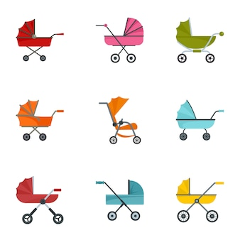 Baby stroller icon set, flat style