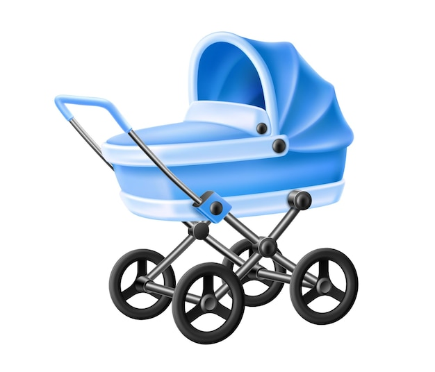 Baby stroller. realistic blue newborn baby carriage. infant boy kid pram.