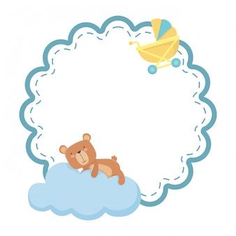 Baby stroller and teddy bear