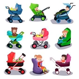 Набор детских колясок и автокресел, безопасная транспортировка маленьких детей с комфортабельными мультипликационными иллюстрациями