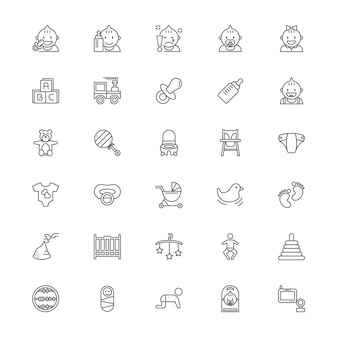 Baby stuff line icon set