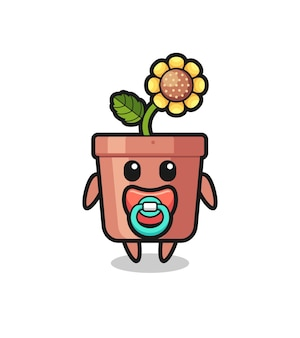 Baby sunflower pot cartoon character with pacifier , cute style design for t shirt, sticker, logo element