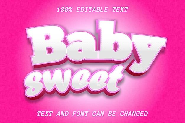 Baby sweet editable text effect emboss style
